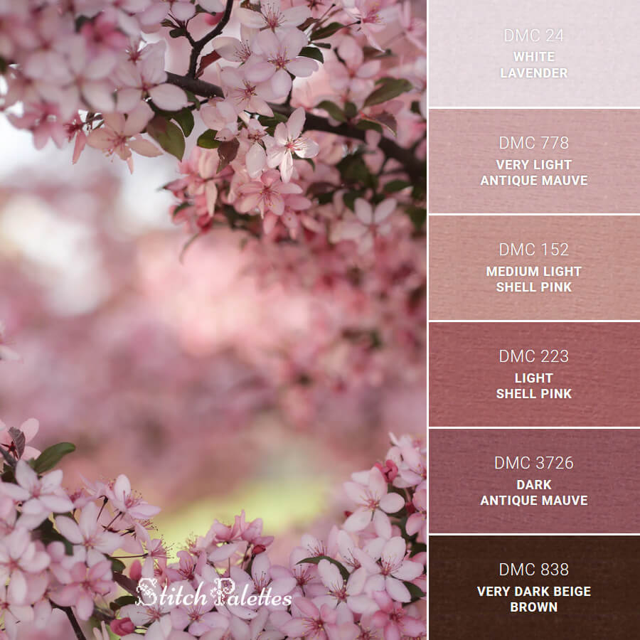 Cherry Blossom - Embroidery Color Palette (With Thread Codes)