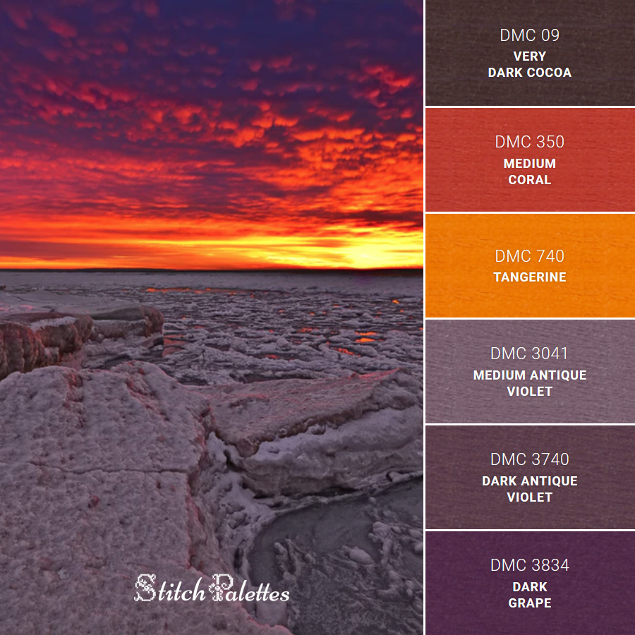 Stitch Palette SPA0059: Red Skies Over Purple Ice