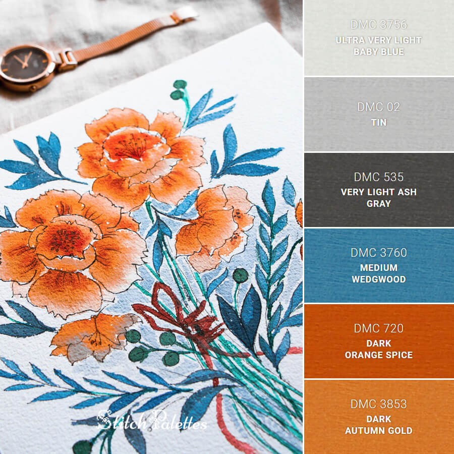 Stitch Palette SPA0122: Blue Orange Watercolors
