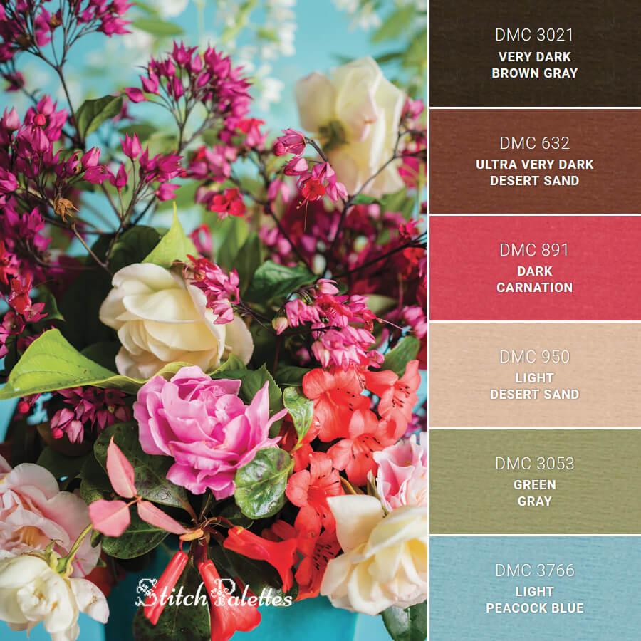 Stitch Palette SPA0127: A Floral Centerpiece