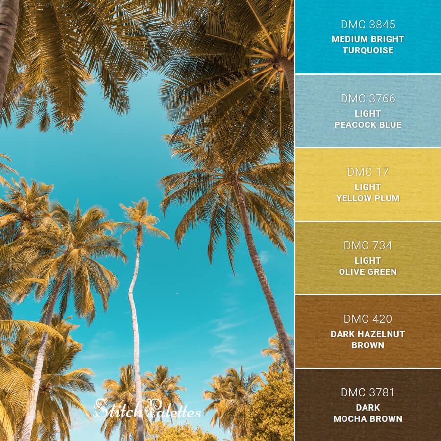 Stitch Palette SPA0138: Blue Skies and Coconut Trees
