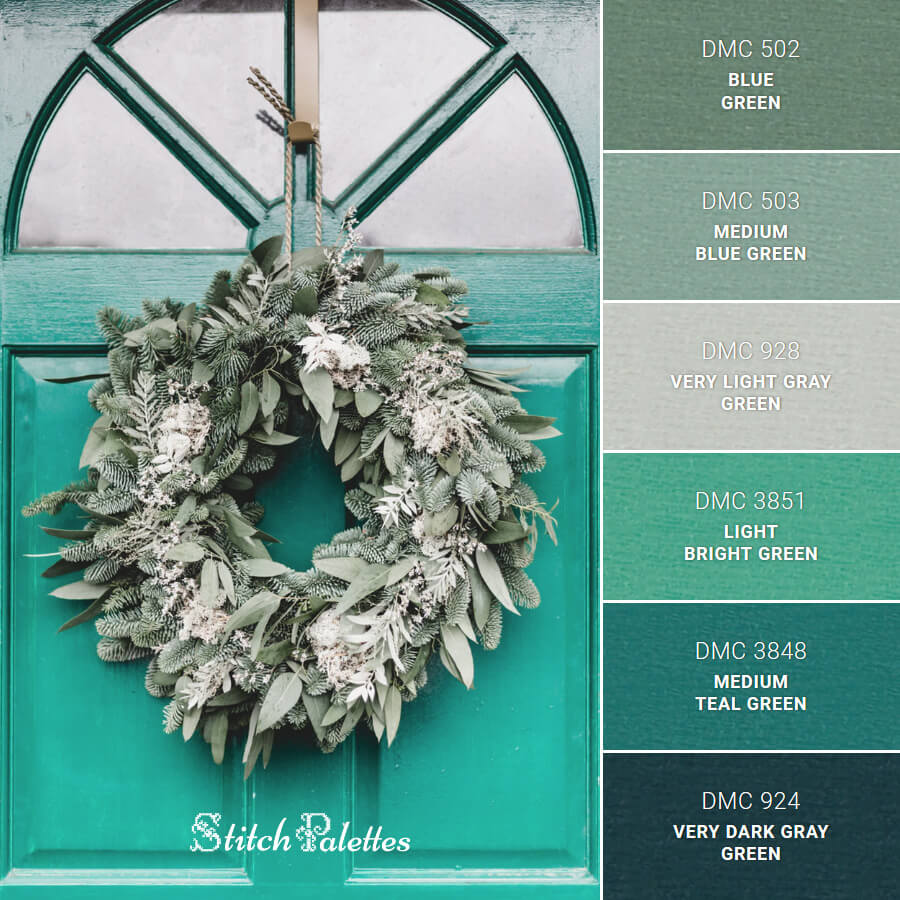 Stitch Palette SPA0141: Mint Christmas Wreath
