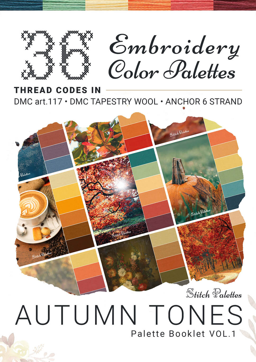 36 Fall Embroidery Thread Palettes