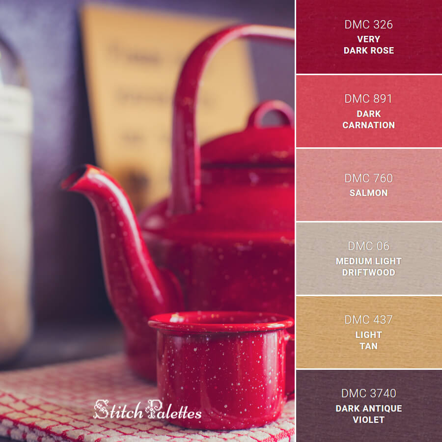 Stitch Palette SPA0529: Red Cup & Kettle