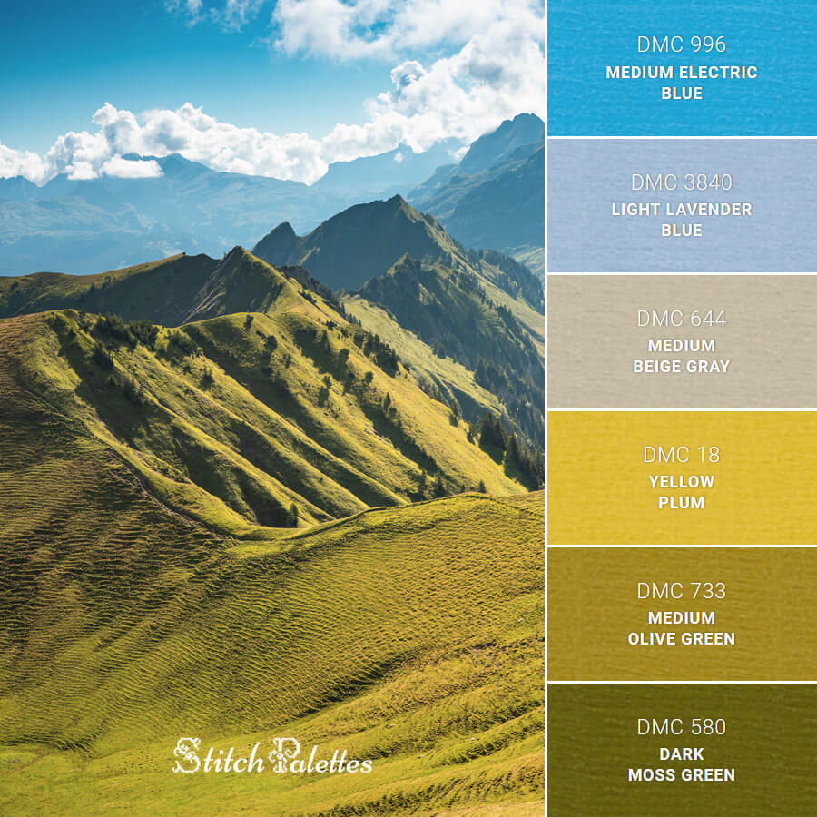 Stitch Palette SPA0604: Green Beauty Of Switzerland