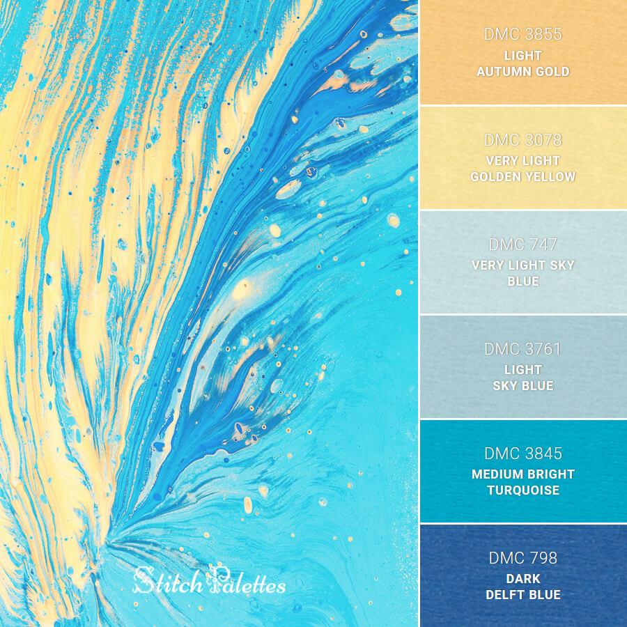 Stitch Palette SPA0616: Blue And Yellow Phoenix