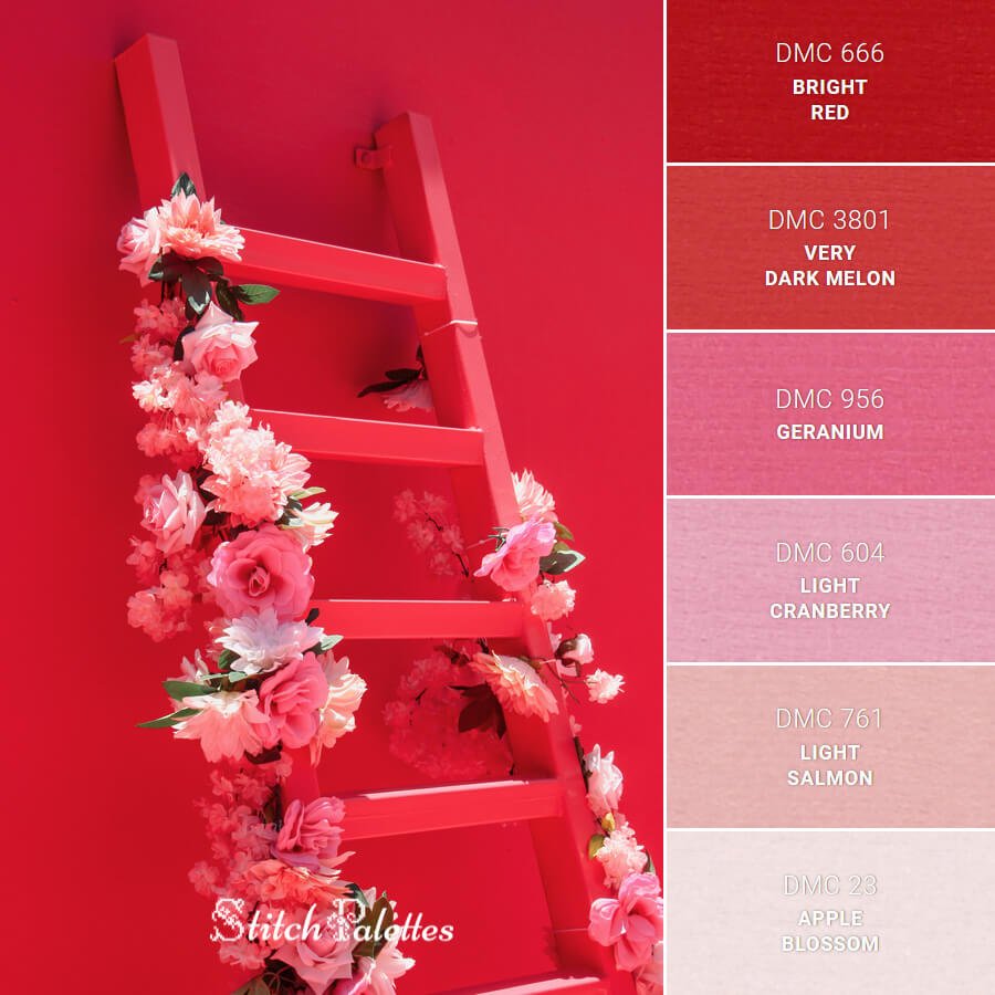 Red Ladder With Flowers