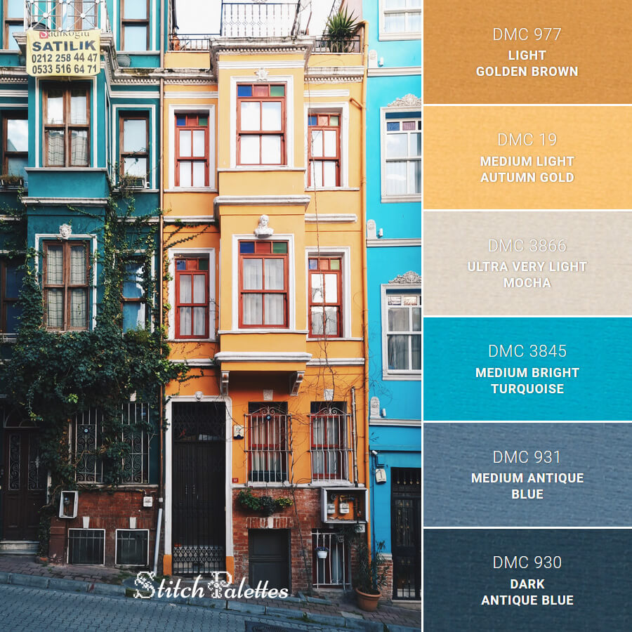 Blue And Yellow Buildings
